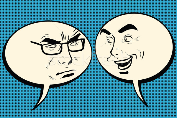 Stock photo: Two men joyful and angry. Comic bubble smiley face