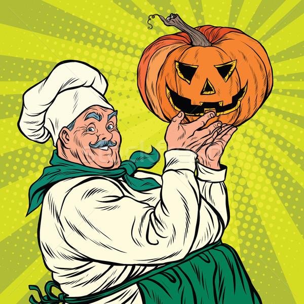 Retro cook with pumpkin Halloween Stock photo © studiostoks