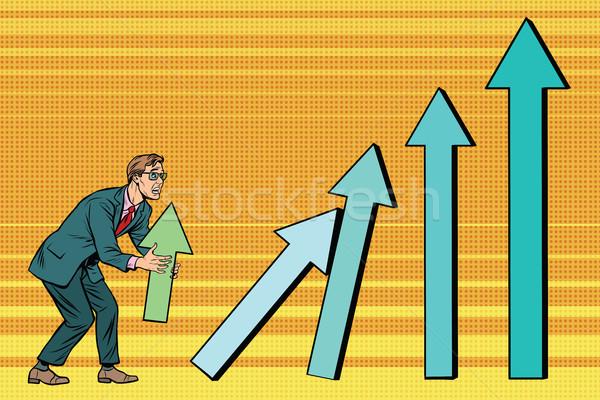Stockfoto: Zakenman · groei · charts · verkoop · pop · art · retro