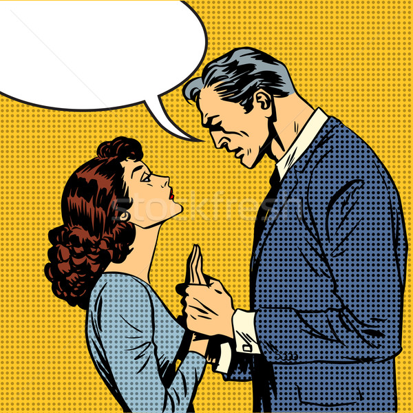 Stock photo: husband and wife lovers serious talk love conflict pop art comic