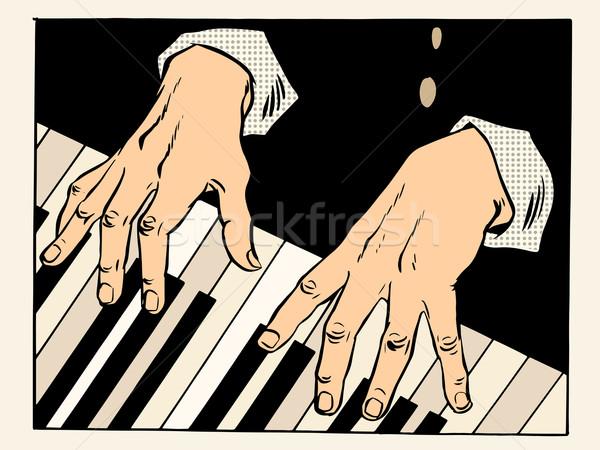 Zongora billentyűk zongorista kezek zene klasszikus művészet Stock fotó © studiostoks