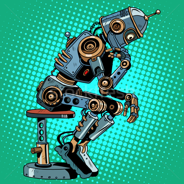 Robot gânditor inteligenta artificiala progres pop art stil retro Imagine de stoc © studiostoks