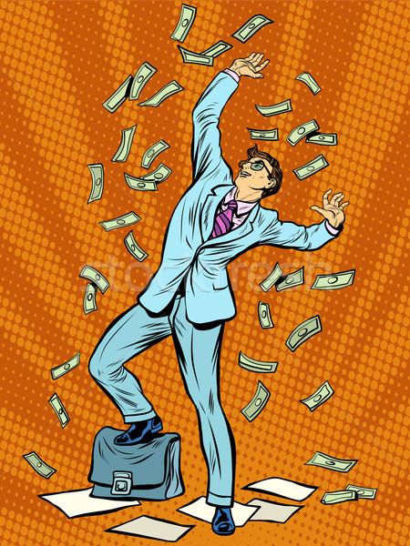 Zakenman financieren geld vallen pop art retro-stijl Stockfoto © studiostoks