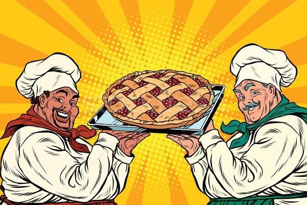 multi-ethnic chefs with berry pie Stock photo © studiostoks
