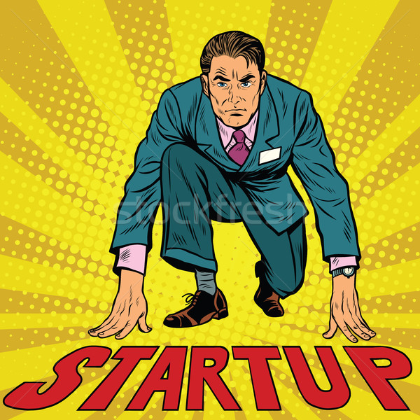 Startup retro businessman on starting line Stock photo © studiostoks