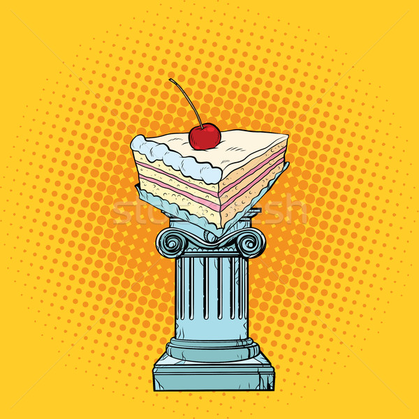 Cake with cherries in the Antiques column Stock photo © studiostoks