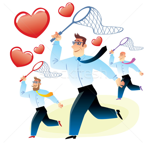 Men in search of love caught red heart butterfly net Stock photo © studiostoks