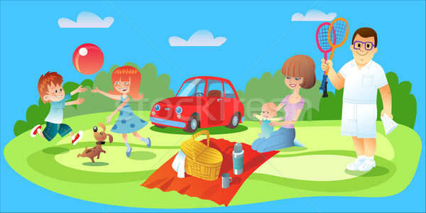 Family picnic, father, mother and children car Stock photo © studiostoks