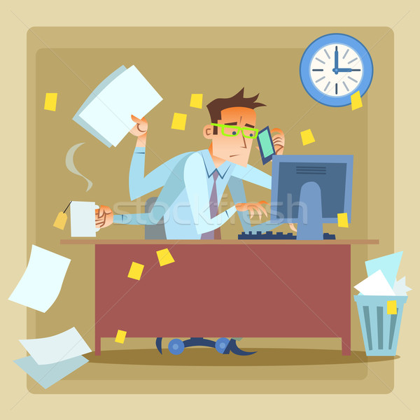 Businessman very busy at work Stock photo © studiostoks