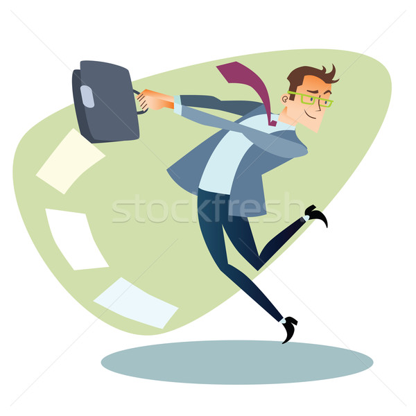 Businessman throws the briefcase like a hammer business sports c Stock photo © studiostoks