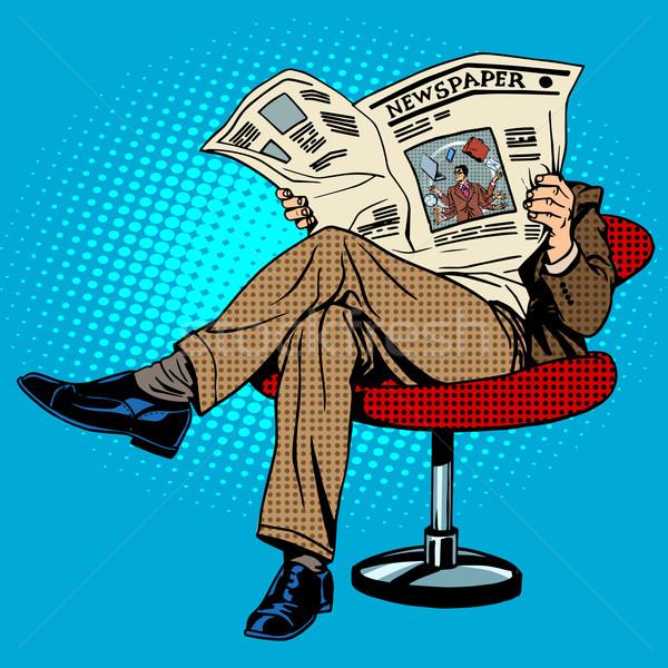 Krant lezing man pop art retro-stijl papier Stockfoto © studiostoks