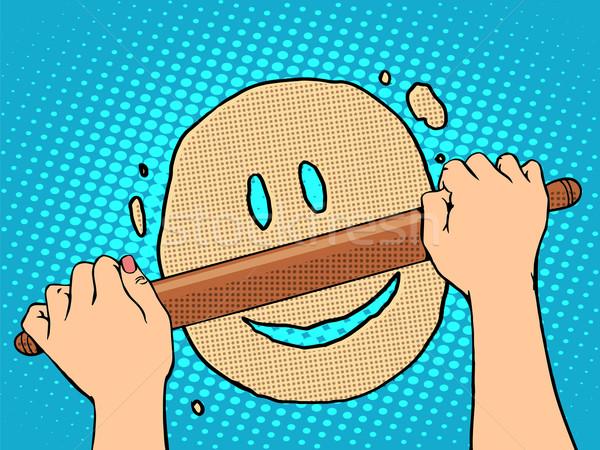 Jó mosolygós arc pop art retró stílus étel főzés Stock fotó © studiostoks