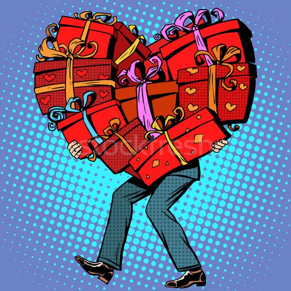Stock fotó: Férfi · ajándékok · valentin · nap · szív · pop · art · retró · stílus