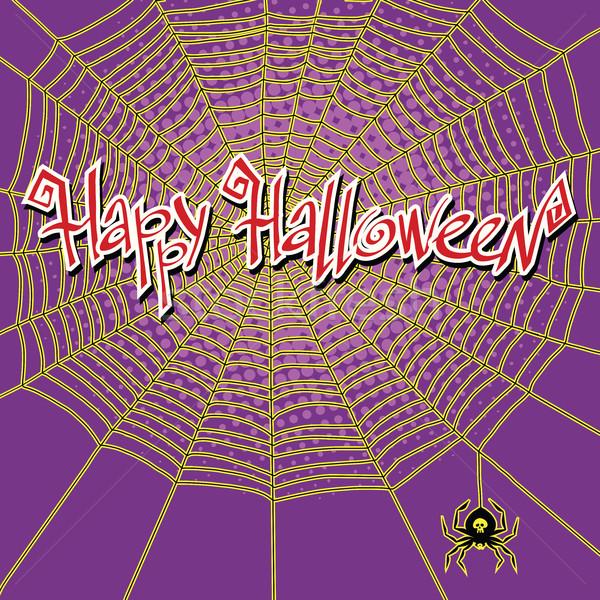 Feliz halloween teia de aranha aranha retro Foto stock © studiostoks