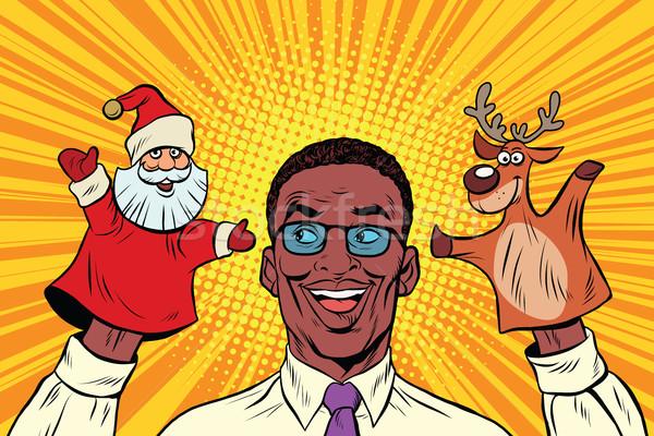 Happy dad, a Christmas puppet theater Stock photo © studiostoks