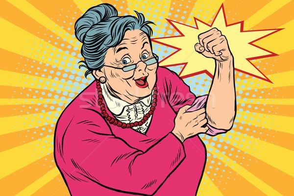 Nagyi öreg hölgy konzerv pop art retro lány Stock fotó © studiostoks
