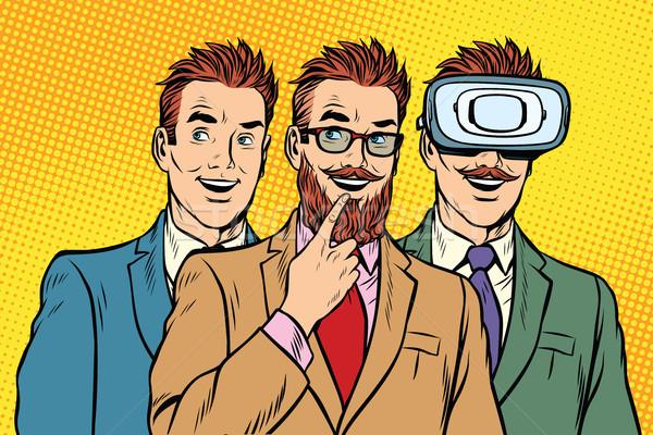 Band trendy retro businessmen, VR glasses Stock photo © studiostoks