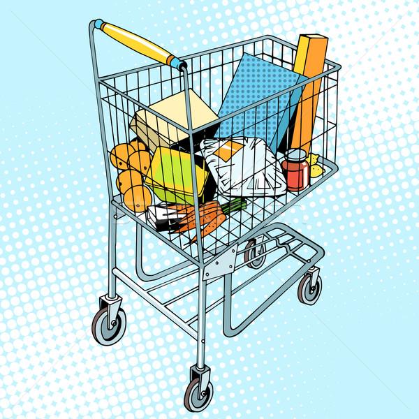 grocery trolley with food Stock photo © studiostoks