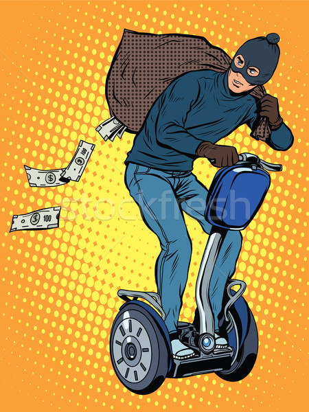 Tech lop pénz pop art retró stílus tolvaj Stock fotó © studiostoks