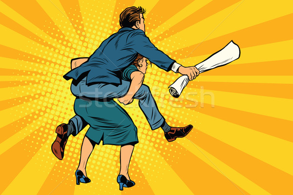 Business people back man riding on woman. Gender inequality Stock photo © studiostoks