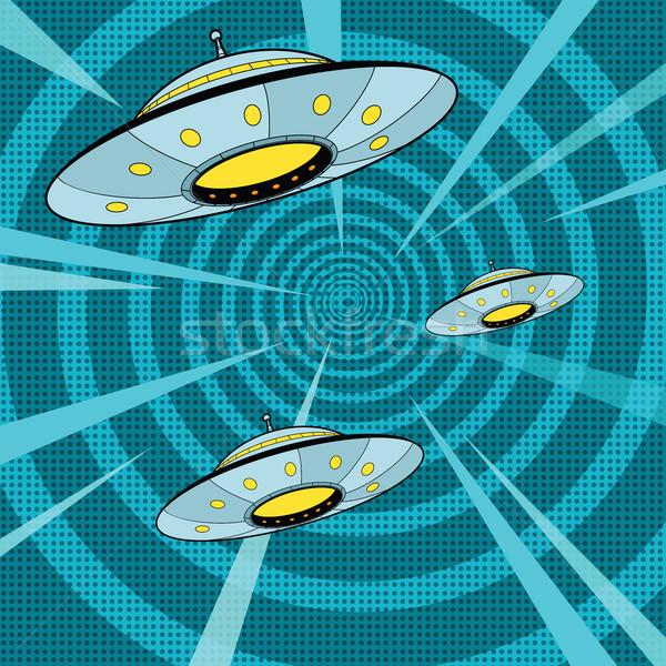 Ruimte aanval ufo pop art retro vreemdeling Stockfoto © studiostoks