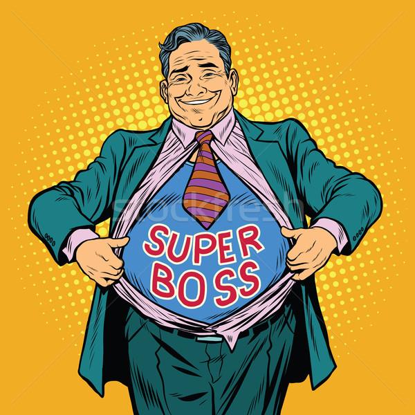 Wspaniały szef grubas biznesmen bohater pop art Zdjęcia stock © studiostoks