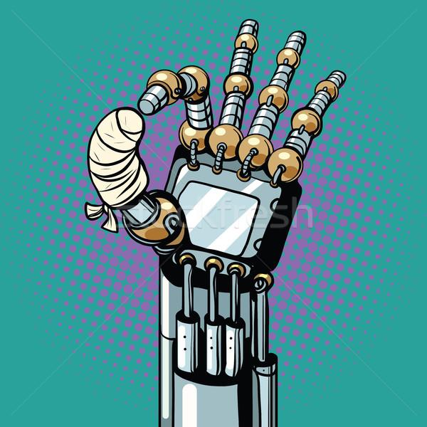Robot OK okay gesture hand broken bandaged finger Stock photo © studiostoks