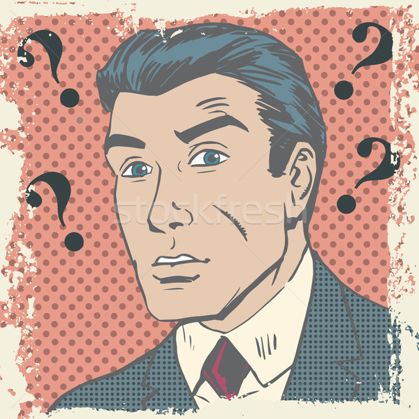 Confused man emotion misunderstanding the questions pop art comi Stock photo © studiostoks