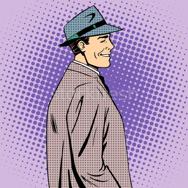 Férfi kabát kalap retró stílus pop art szépség Stock fotó © studiostoks
