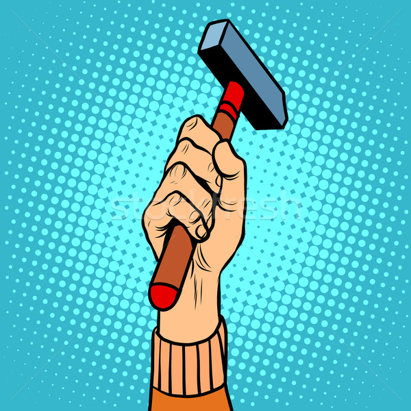Stock photo: Hand with hammer vector illustration