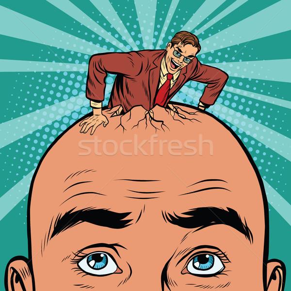レトロな ビジネスマン 頭 男性 ポップアート ベクトル ストックフォト © studiostoks