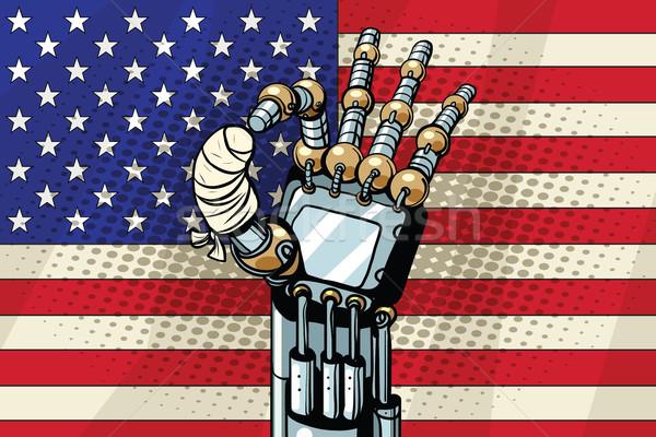 Robot OK gesture, the US flag. Broken bandaged finger Stock photo © studiostoks