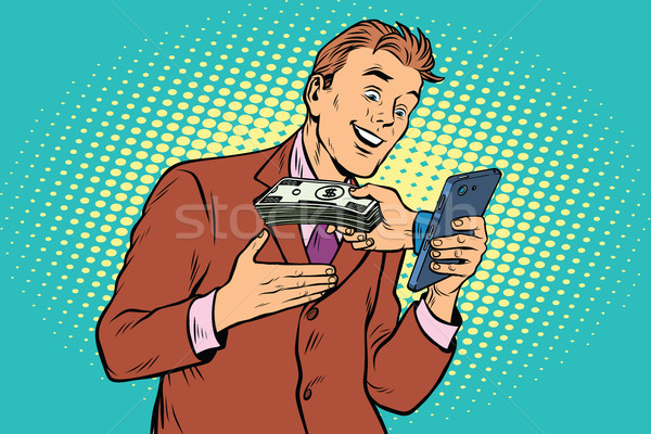 E-Commerce online payment, businessman and smartphone Stock photo © studiostoks