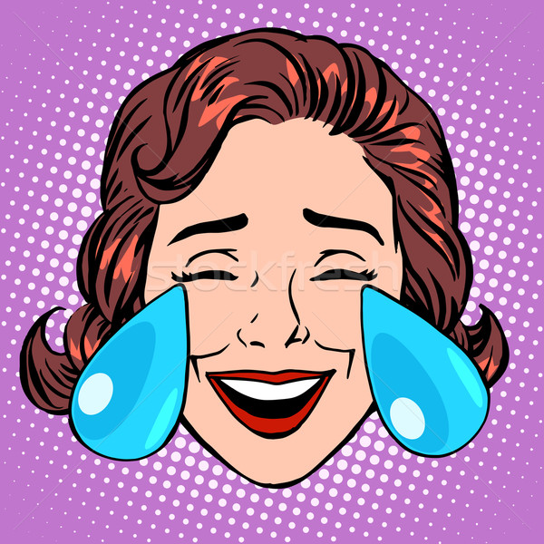 Retro Emoji tears of joy woman face Stock photo © studiostoks
