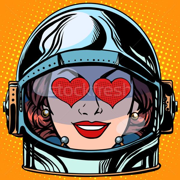 Stock photo: emoticon love Emoji face woman astronaut retro