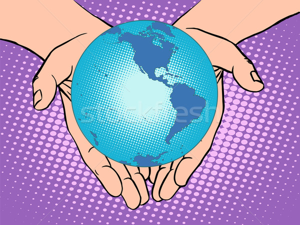 Planet Earth in hands, South and North America Stock photo © studiostoks