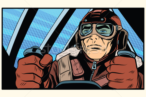 retro military Aviator pilot Stock photo © studiostoks