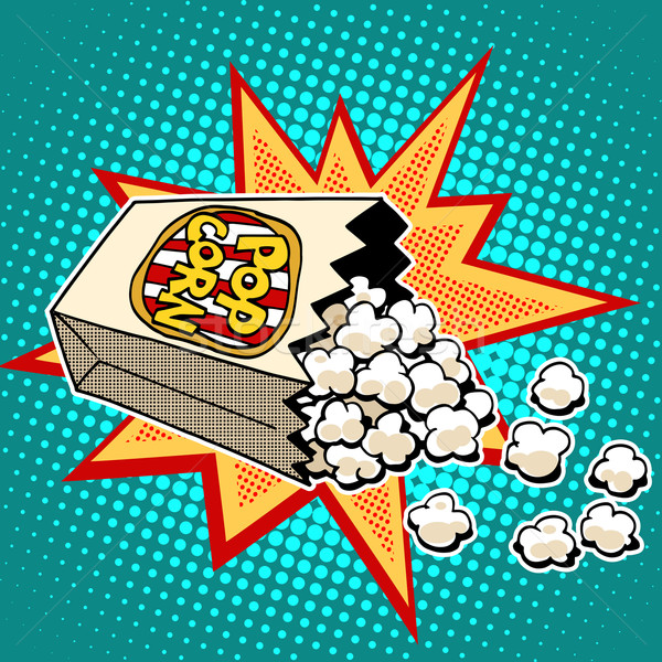 Popcorn sweet sarriette maïs pop art style rétro Photo stock © studiostoks