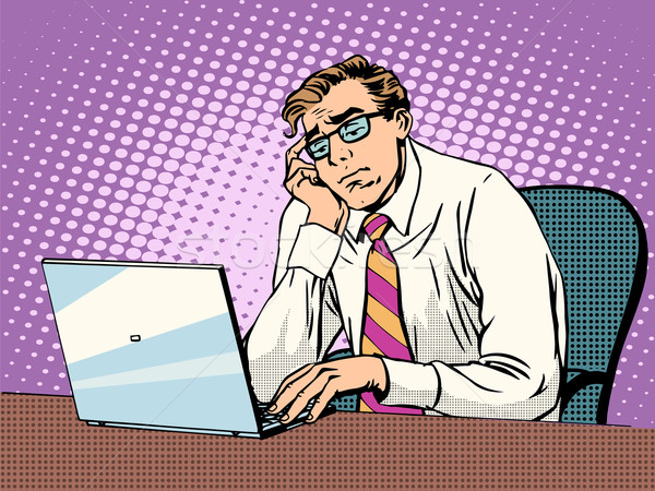 Empresário trabalhando laptop tédio estilo retro Foto stock © studiostoks