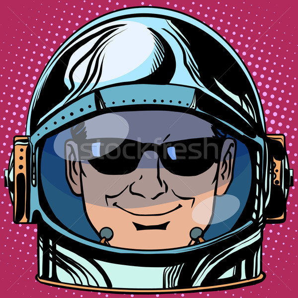 Emoticon Spion Gesicht Mann Astronaut Retro Stock foto © studiostoks
