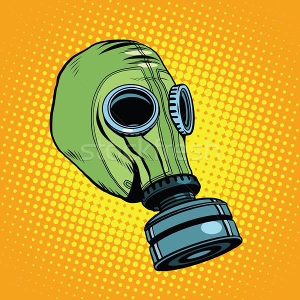 Gaz maskesi bağbozumu kauçuk yeşil Retro pop art Stok fotoğraf © studiostoks