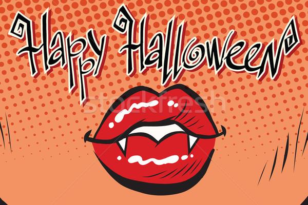 Feliz halloween boca feminino vampiro Foto stock © studiostoks