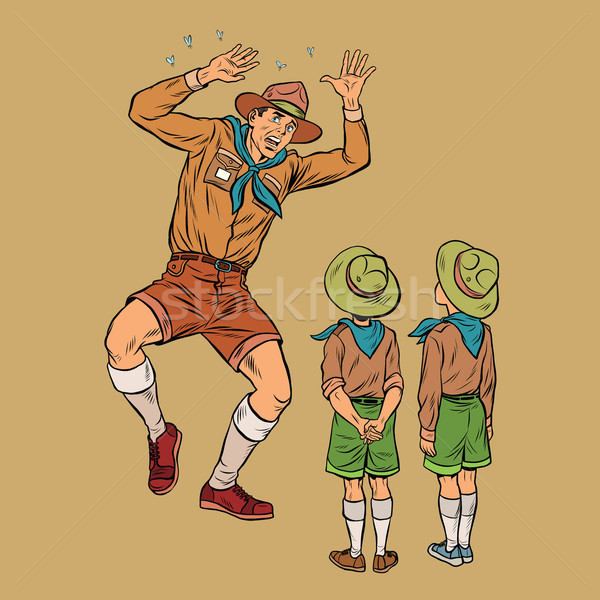 The scoutmaster is afraid of insects Stock photo © studiostoks