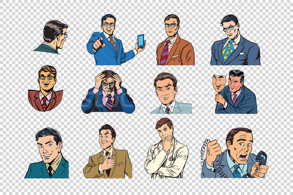 Retro businessmen pop art collection Stock photo © studiostoks