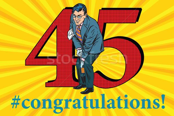 Gratulacje rocznicy przypadku uroczystości szczęśliwy człowiek Zdjęcia stock © studiostoks