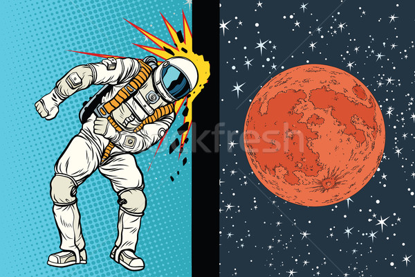 Cosmonaut knocks head on the wall. A dream to be on Mars Stock photo © studiostoks