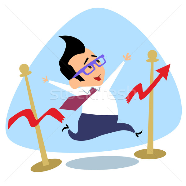 Businessman breaks the finish tape schedule of sales growth busi Stock photo © studiostoks