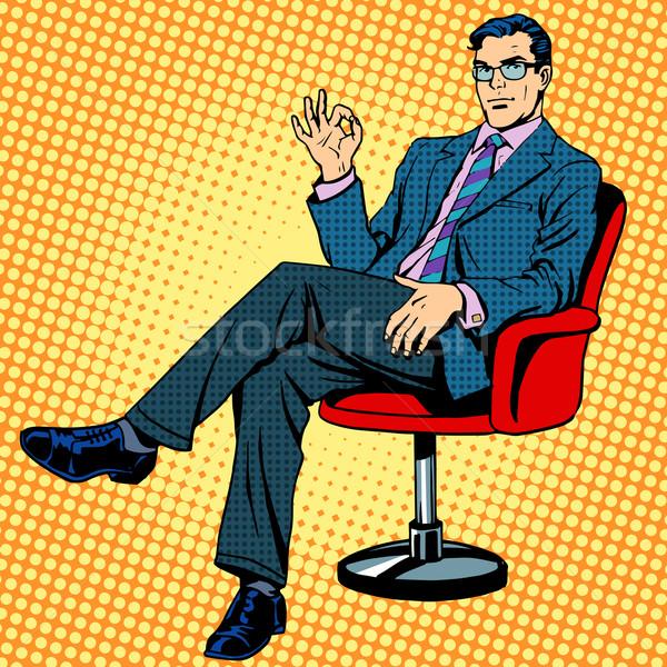 üzletember ül fotel kézmozdulat oké pop art Stock fotó © studiostoks
