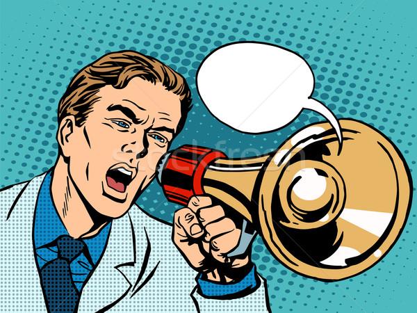 человека мегафон поощрения Поп-арт ретро-стиле Сток-фото © studiostoks