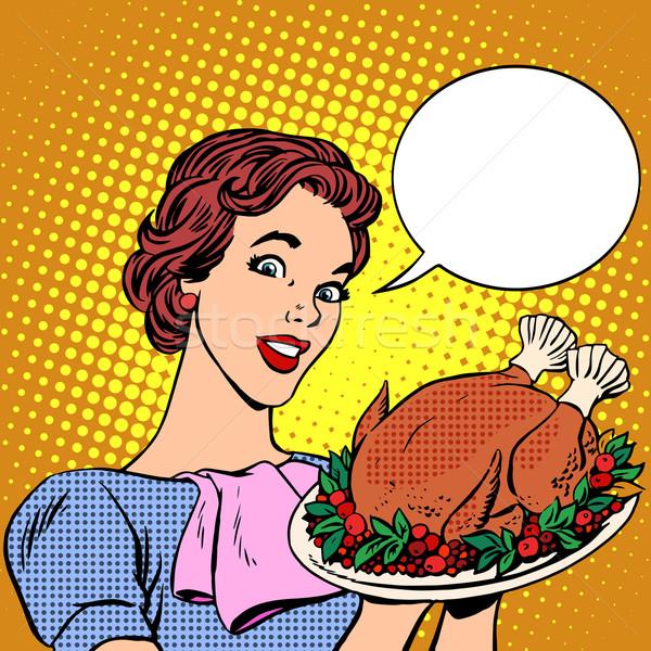 Woman with a Christmas Turkey thanksgiving Stock photo © studiostoks